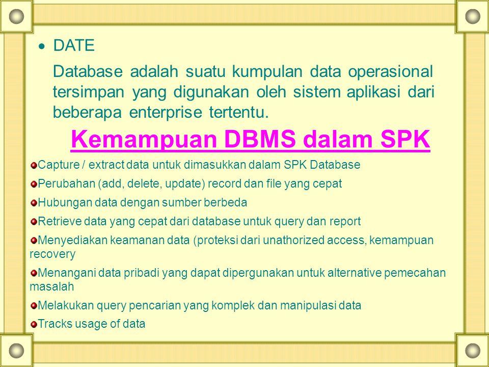· DATE Database adalah suatu kumpulan data operasional tersimpan yang digunakan oleh sistem aplikasi dari beberapa enterprise tertentu.