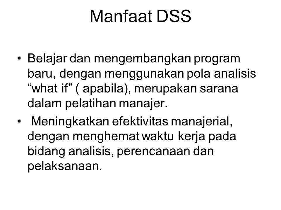 Manfaat DSS Belajar dan mengembangkan program baru, dengan menggunakan pola analisis what if ( apabila), merupakan sarana dalam pelatihan manajer.