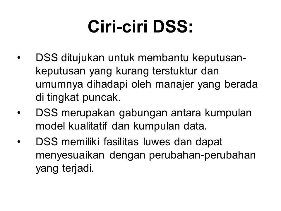 Ciri-ciri DSS: