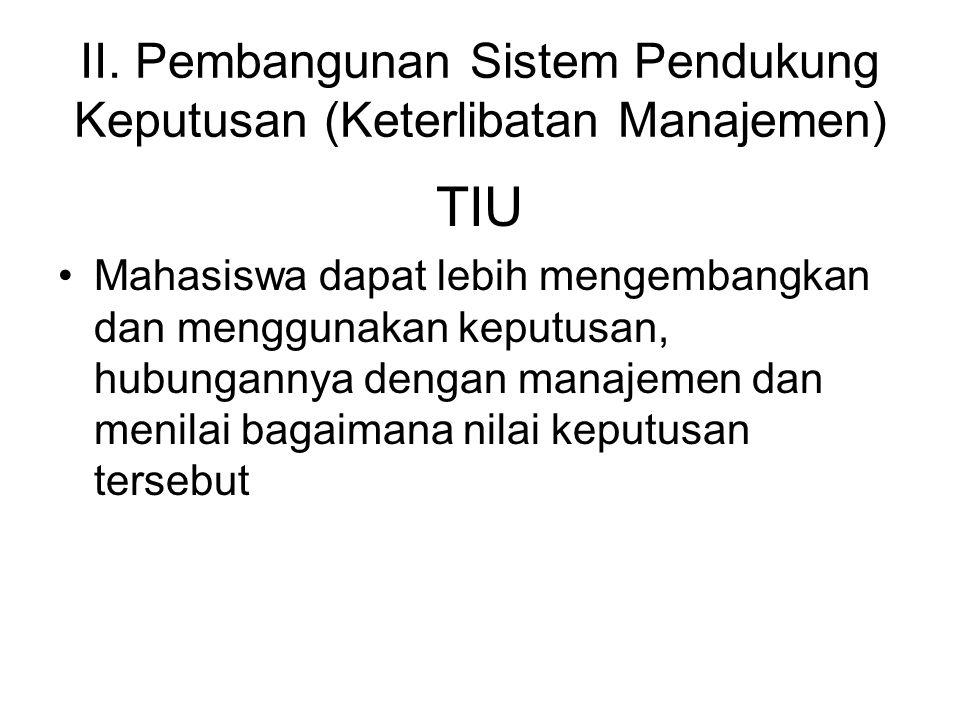 II. Pembangunan Sistem Pendukung Keputusan (Keterlibatan Manajemen)