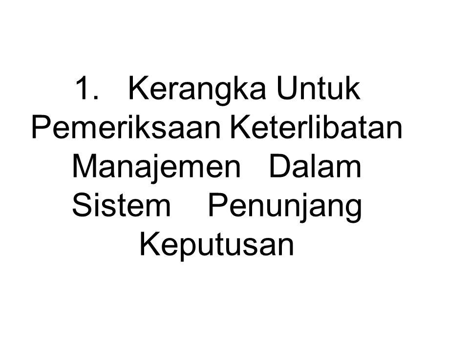 1. Kerangka Untuk Pemeriksaan Keterlibatan Manajemen Dalam Sistem Penunjang Keputusan