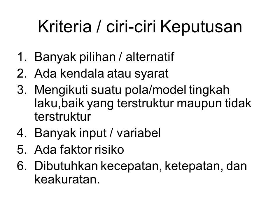 Kriteria / ciri-ciri Keputusan