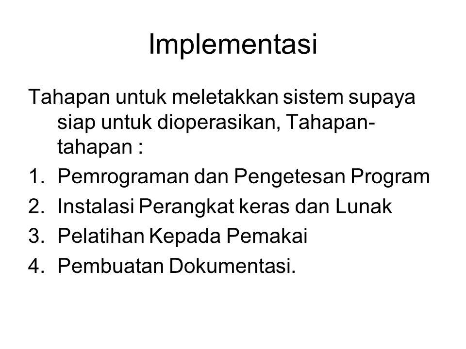 Implementasi Tahapan untuk meletakkan sistem supaya siap untuk dioperasikan, Tahapan-tahapan : Pemrograman dan Pengetesan Program.