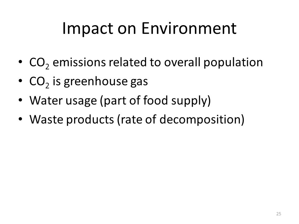 Impact on Environment CO2 emissions related to overall population
