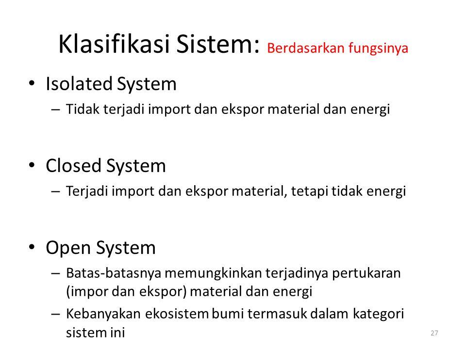 Klasifikasi Sistem: Berdasarkan fungsinya