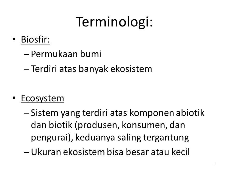 Terminologi: Biosfir: Permukaan bumi Terdiri atas banyak ekosistem