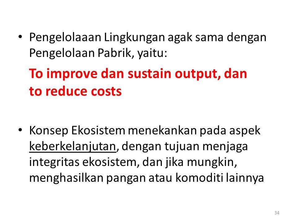 Pengelolaaan Lingkungan agak sama dengan Pengelolaan Pabrik, yaitu:
