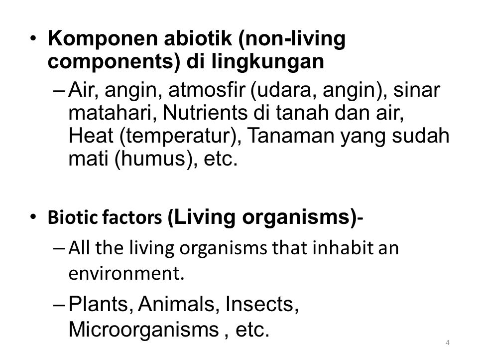 Komponen abiotik (non-living components) di lingkungan