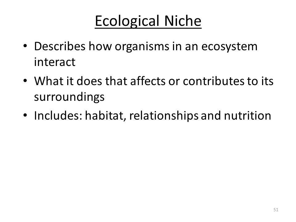 Ecological Niche Describes how organisms in an ecosystem interact