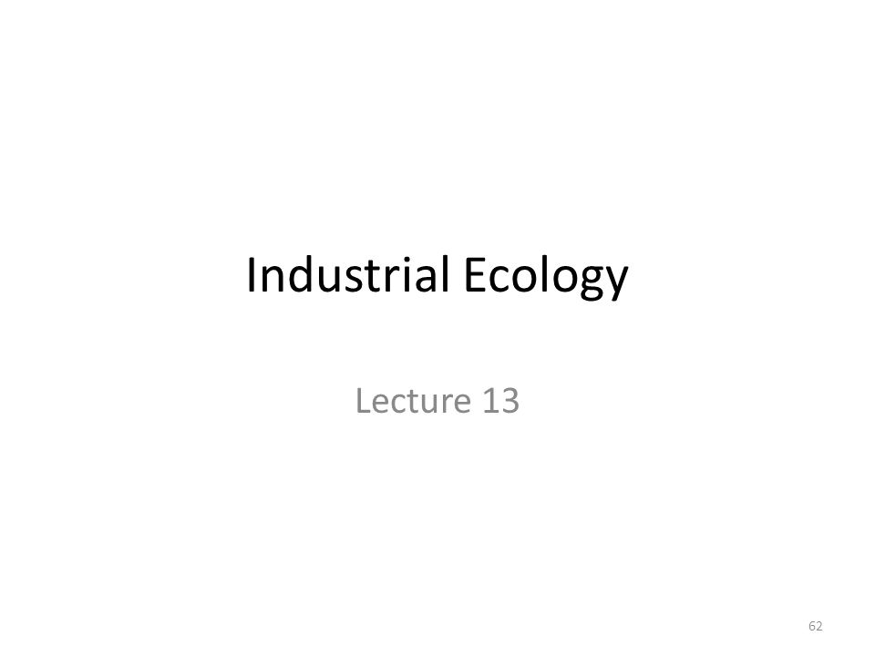 Industrial Ecology Lecture 13