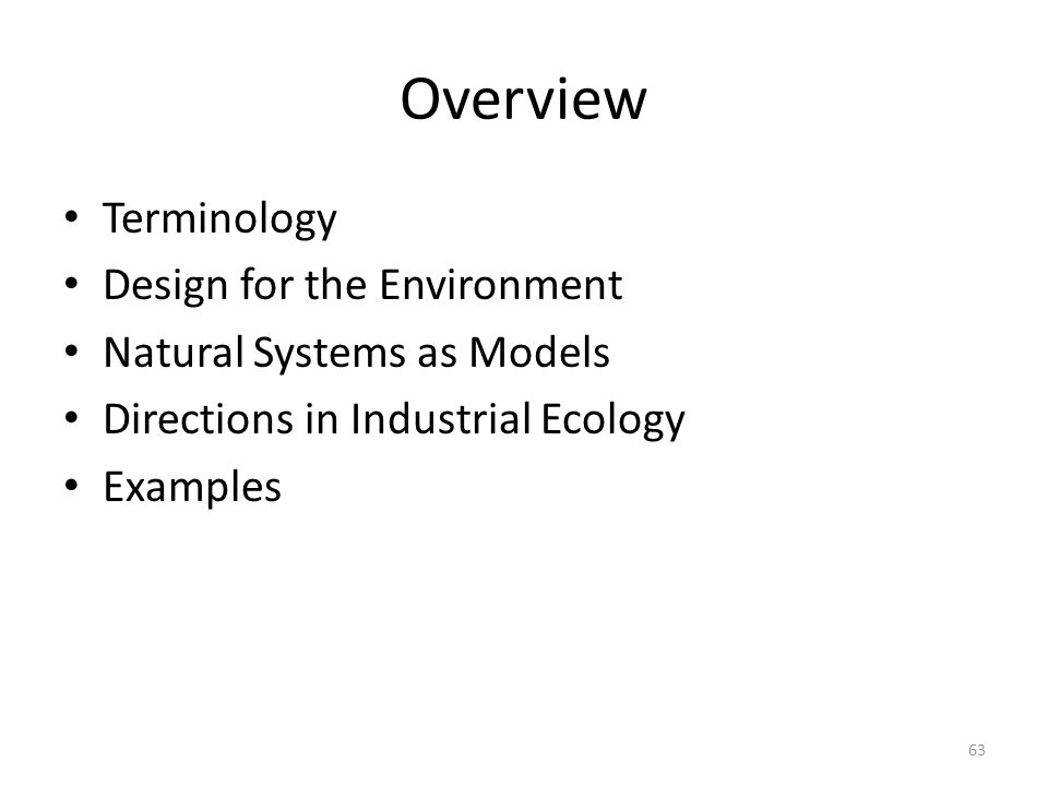 Overview Terminology Design for the Environment