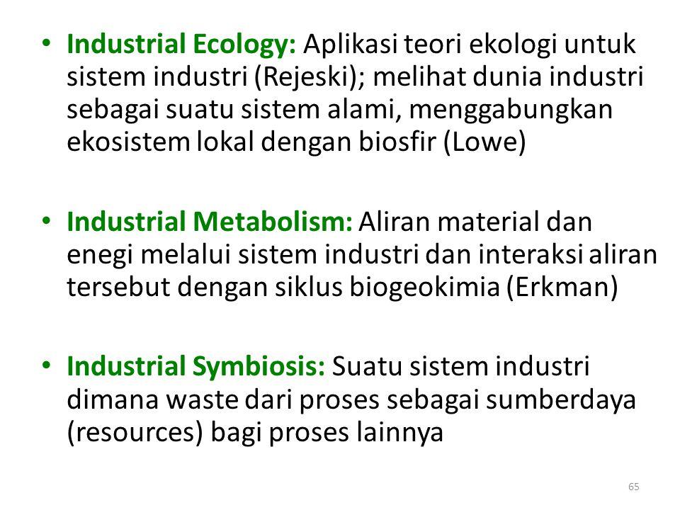 Industrial Ecology: Aplikasi teori ekologi untuk sistem industri (Rejeski); melihat dunia industri sebagai suatu sistem alami, menggabungkan ekosistem lokal dengan biosfir (Lowe)