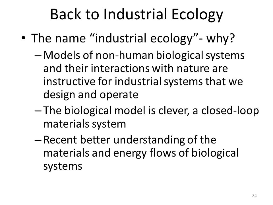Back to Industrial Ecology