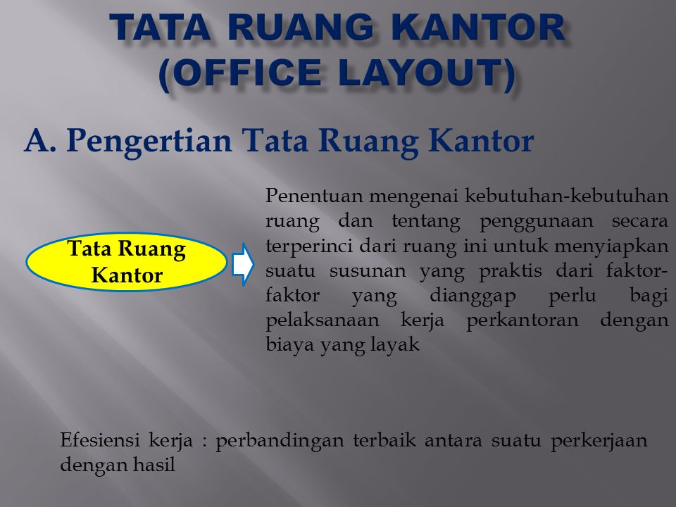 TATA RUANG KANTOR (OFFICE LAYOUT)