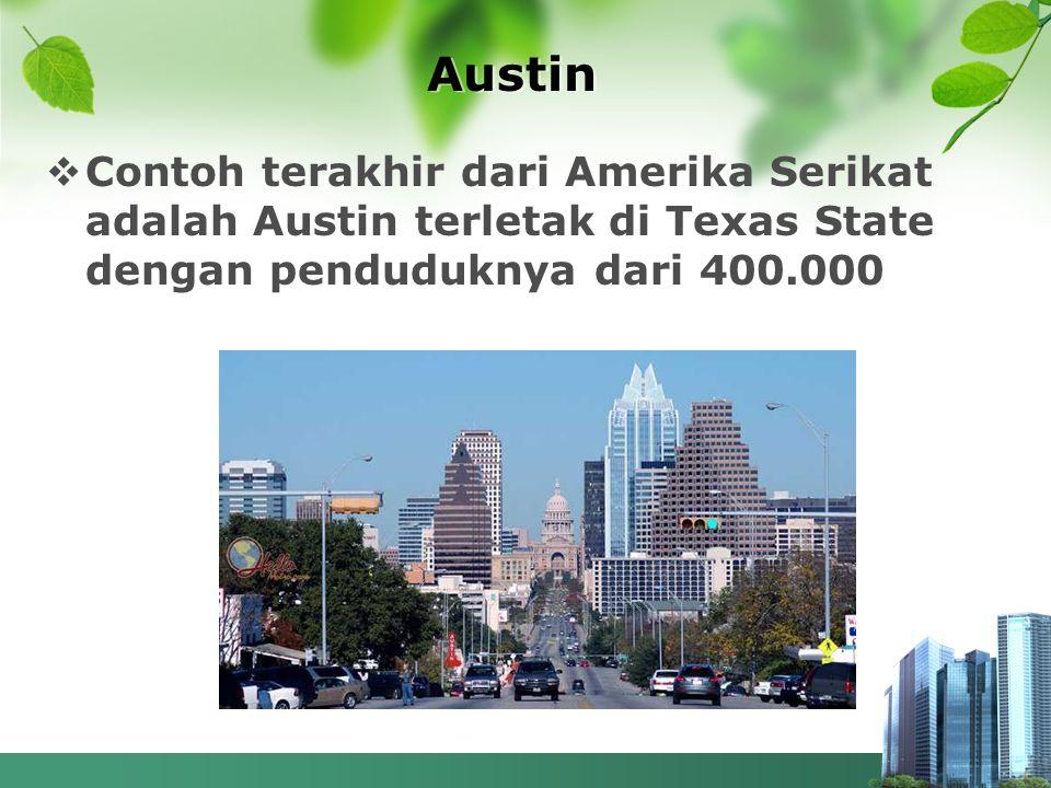 Austin Contoh terakhir dari Amerika Serikat adalah Austin terletak di Texas State dengan penduduknya dari 400.000.