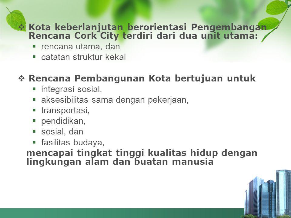 Kota keberlanjutan berorientasi Pengembangan Rencana Cork City terdiri dari dua unit utama: