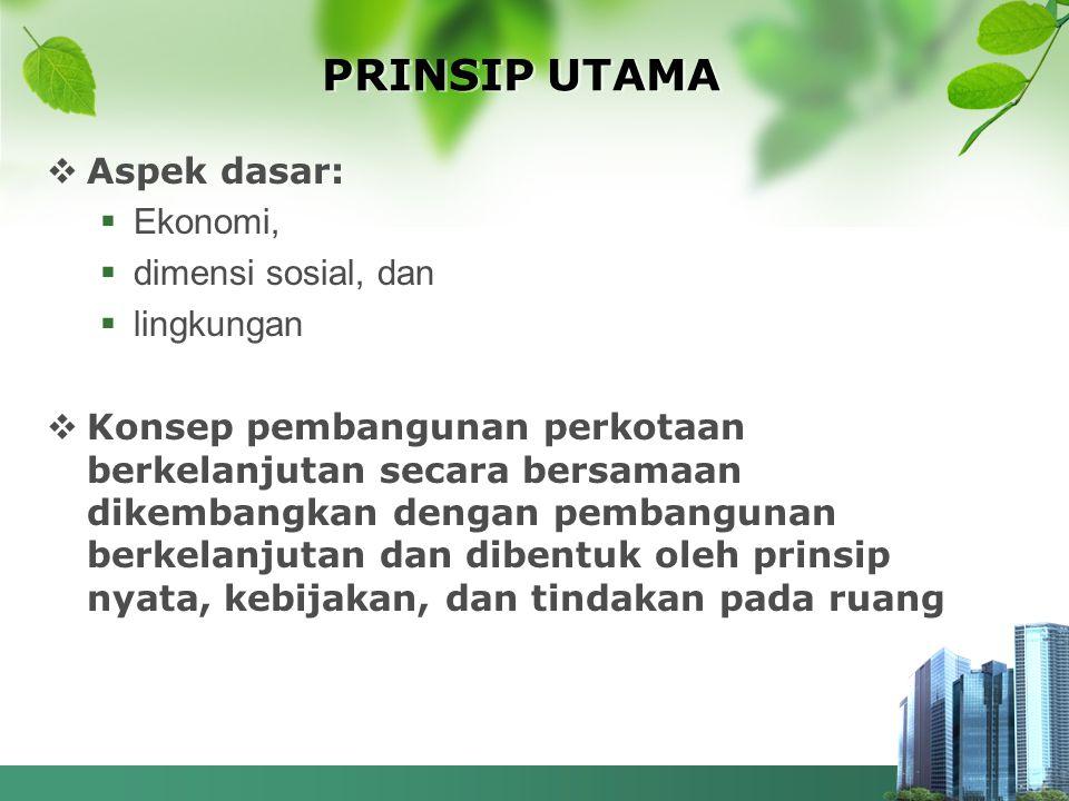 PRINSIP UTAMA Aspek dasar: Ekonomi, dimensi sosial, dan lingkungan