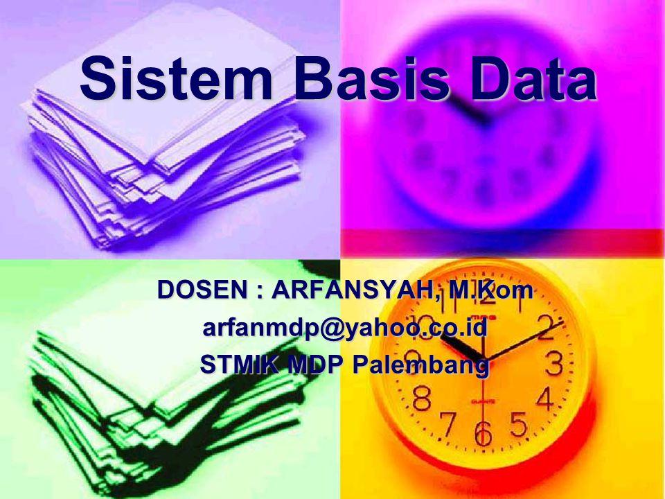 DOSEN : ARFANSYAH, M.Kom arfanmdp@yahoo.co.id STMIK MDP Palembang