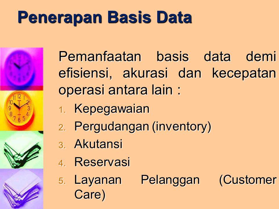 Penerapan Basis Data Pemanfaatan basis data demi efisiensi, akurasi dan kecepatan operasi antara lain :