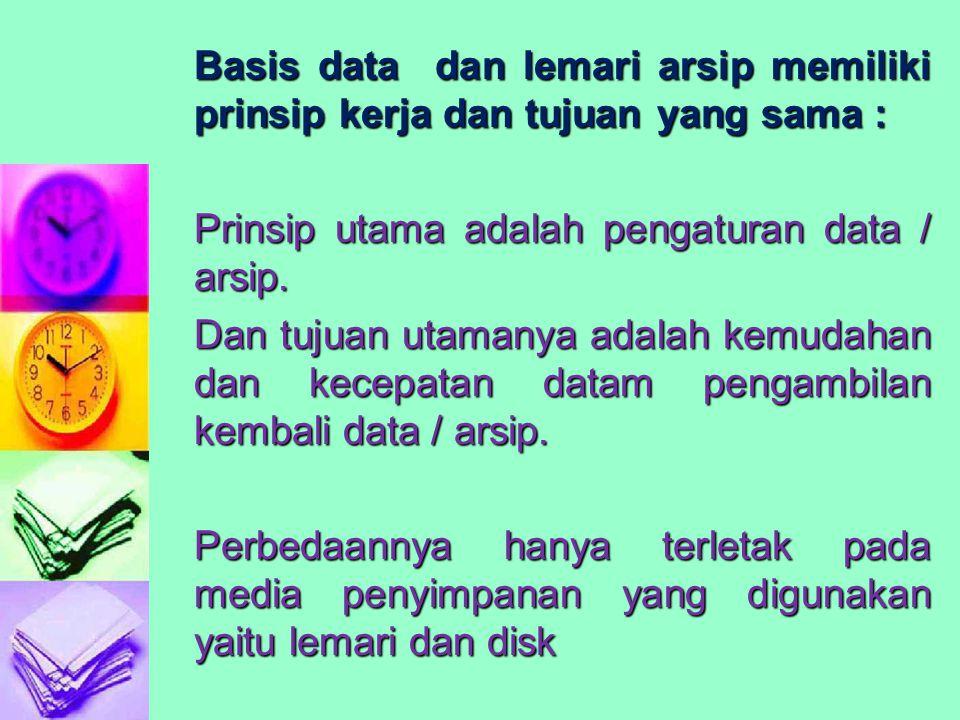 Basis data dan lemari arsip memiliki prinsip kerja dan tujuan yang sama : Prinsip utama adalah pengaturan data / arsip.