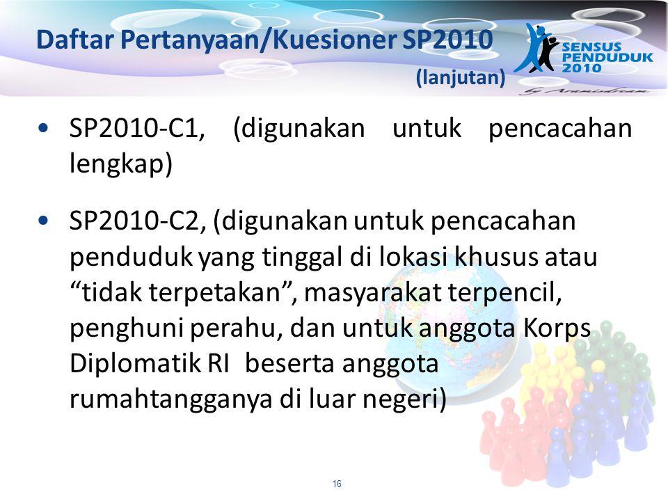 Daftar Pertanyaan/Kuesioner SP2010
