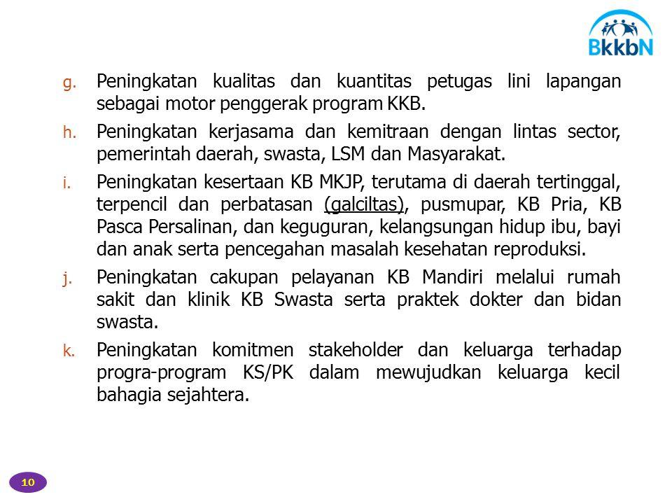 Peningkatan kualitas dan kuantitas petugas lini lapangan sebagai motor penggerak program KKB.
