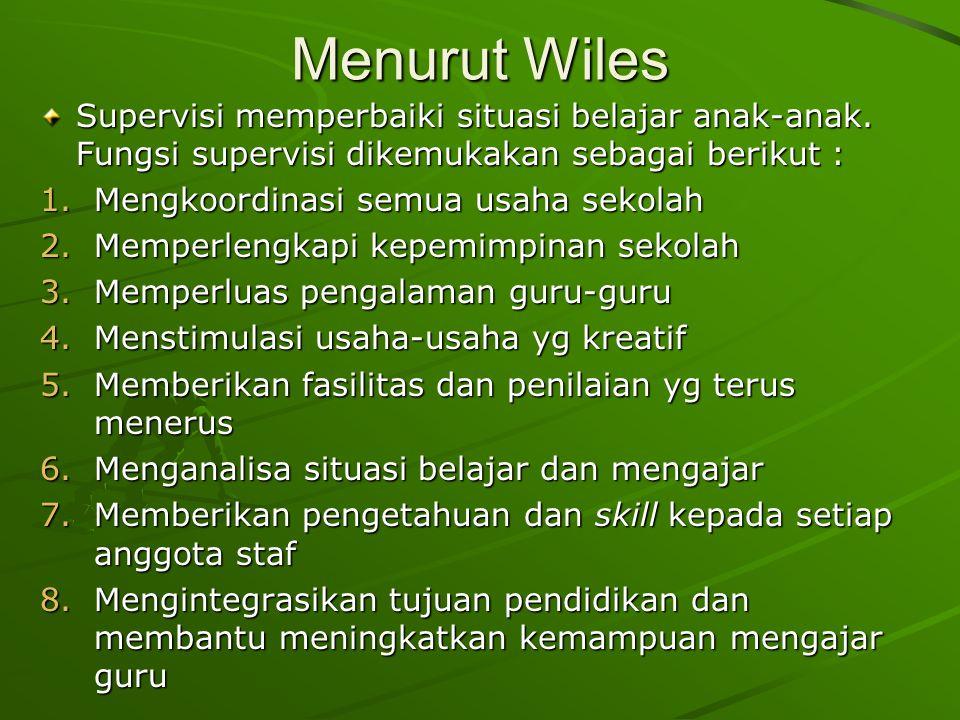 Menurut Wiles Supervisi memperbaiki situasi belajar anak-anak. Fungsi supervisi dikemukakan sebagai berikut :