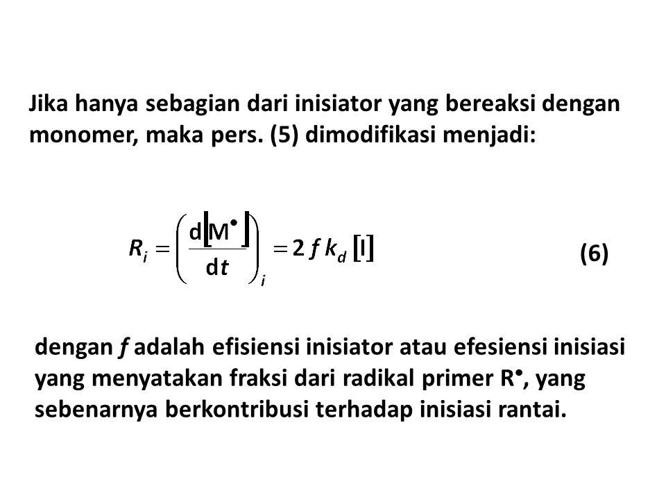 Jika hanya sebagian dari inisiator yang bereaksi dengan monomer, maka pers. (5) dimodifikasi menjadi: