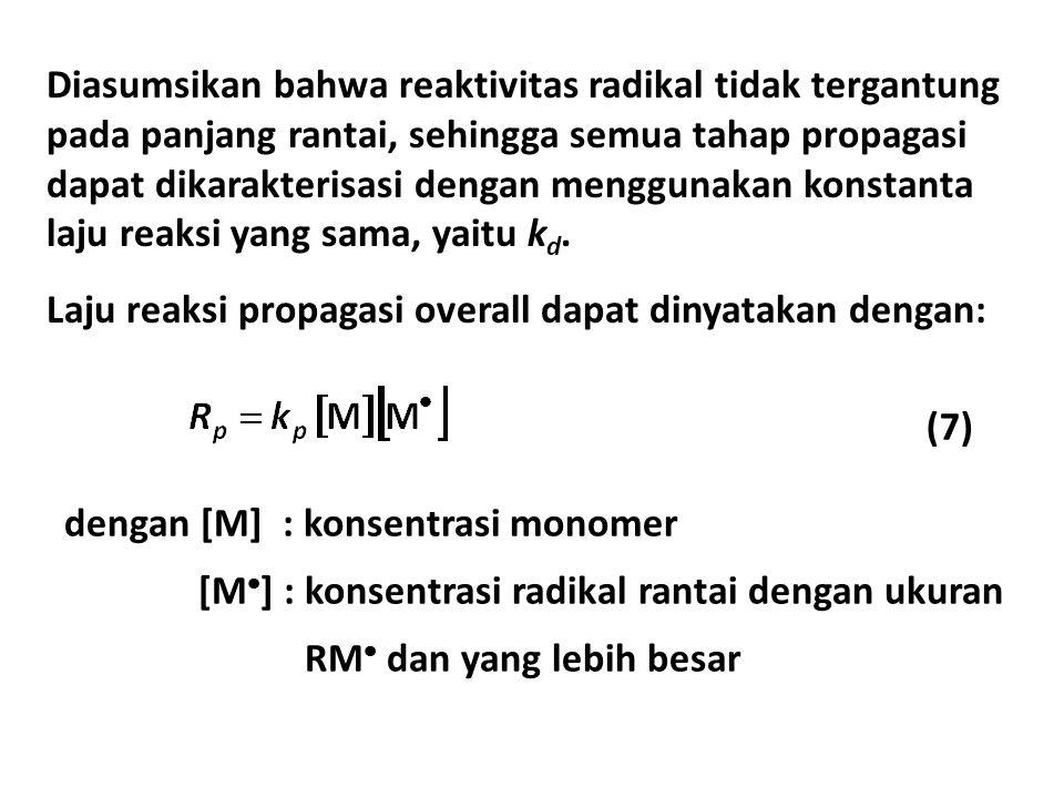 Diasumsikan bahwa reaktivitas radikal tidak tergantung pada panjang rantai, sehingga semua tahap propagasi dapat dikarakterisasi dengan menggunakan konstanta laju reaksi yang sama, yaitu kd.