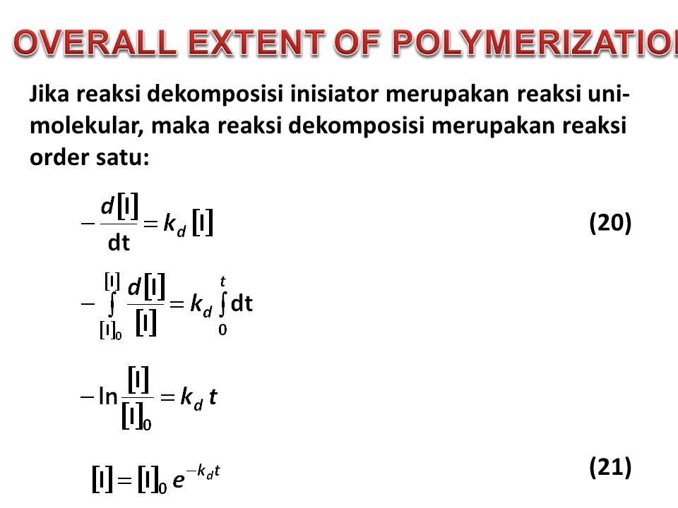 OVERALL EXTENT OF POLYMERIZATION