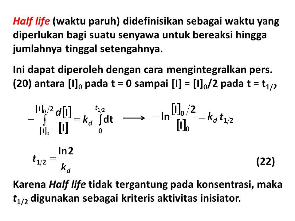Half life (waktu paruh) didefinisikan sebagai waktu yang diperlukan bagi suatu senyawa untuk bereaksi hingga jumlahnya tinggal setengahnya.
