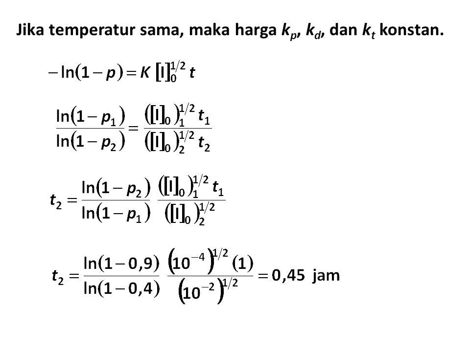 Jika temperatur sama, maka harga kp, kd, dan kt konstan.