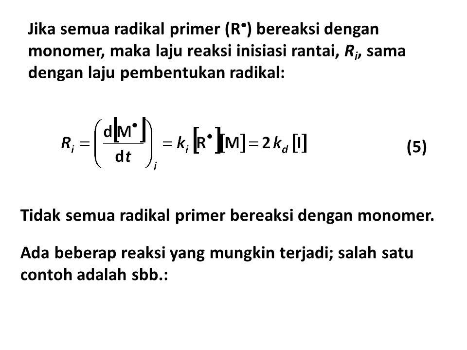 Jika semua radikal primer (R) bereaksi dengan monomer, maka laju reaksi inisiasi rantai, Ri, sama dengan laju pembentukan radikal:
