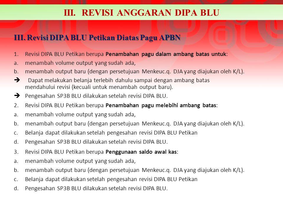 III. Revisi DIPA BLU Petikan Diatas Pagu APBN