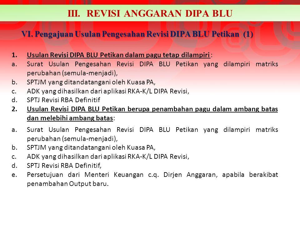 VI. Pengajuan Usulan Pengesahan Revisi DIPA BLU Petikan (1)
