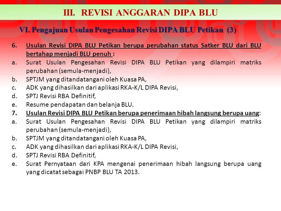 VI. Pengajuan Usulan Pengesahan Revisi DIPA BLU Petikan (3)