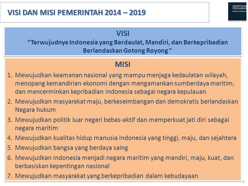 VISI DAN MISI PEMERINTAH 2014 – 2019