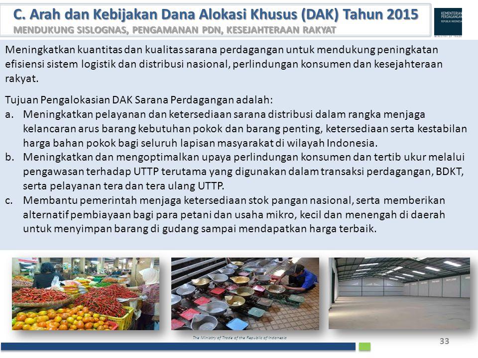 C. Arah dan Kebijakan Dana Alokasi Khusus (DAK) Tahun 2015 MENDUKUNG SISLOGNAS, PENGAMANAN PDN, KESEJAHTERAAN RAKYAT