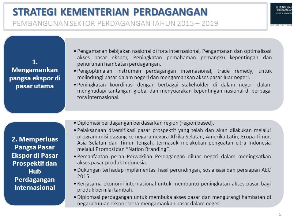 1. Mengamankan pangsa ekspor di pasar utama