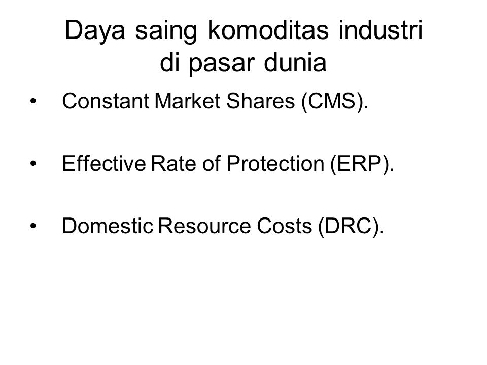 Daya saing komoditas industri di pasar dunia