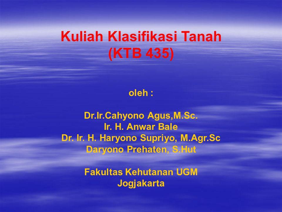 Kuliah Klasifikasi Tanah (KTB 435)