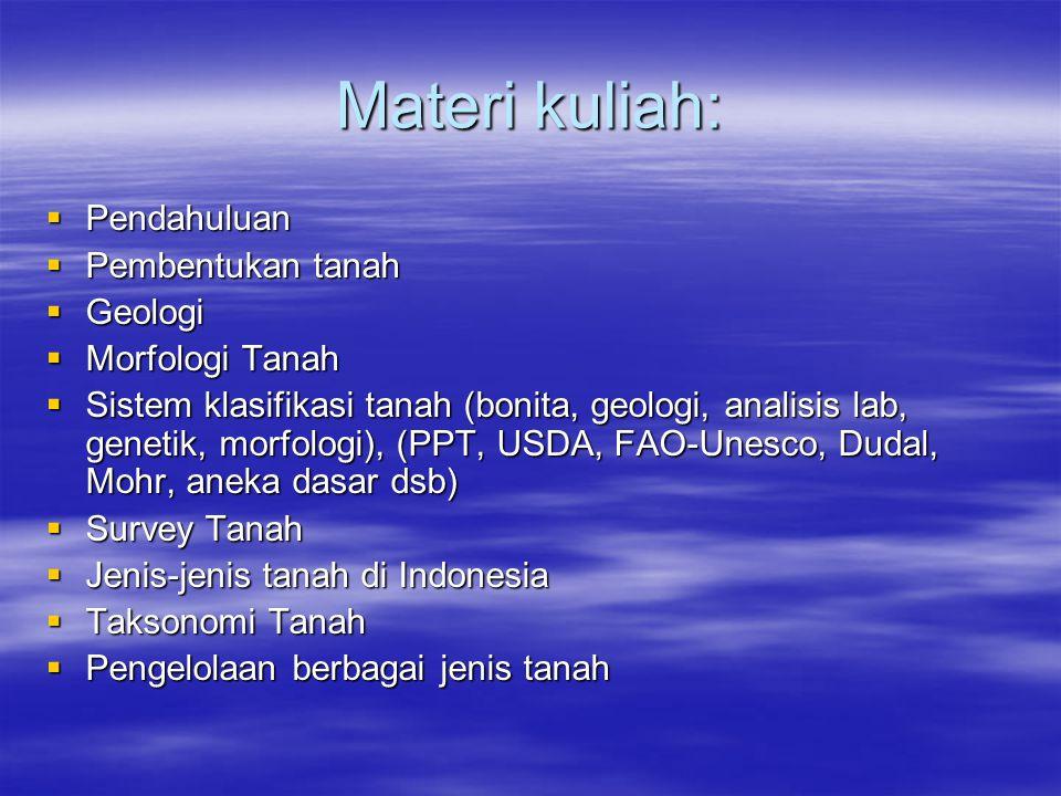 Materi kuliah: Pendahuluan Pembentukan tanah Geologi Morfologi Tanah
