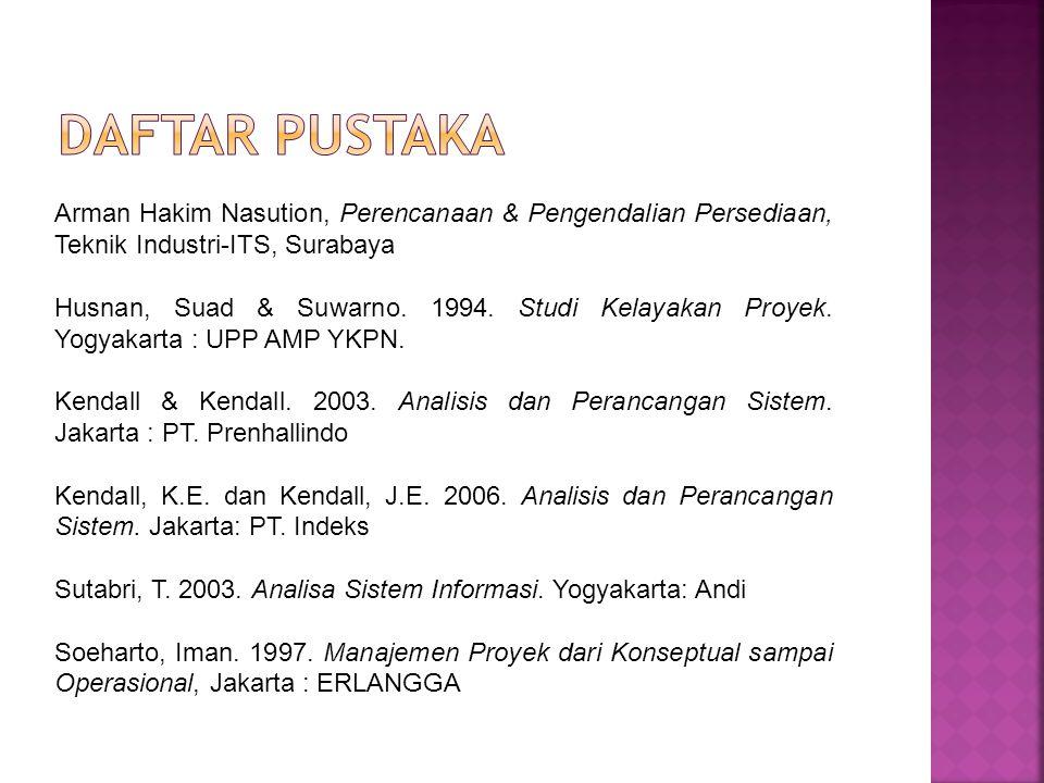 Daftar Pustaka Arman Hakim Nasution, Perencanaan & Pengendalian Persediaan, Teknik Industri-ITS, Surabaya.