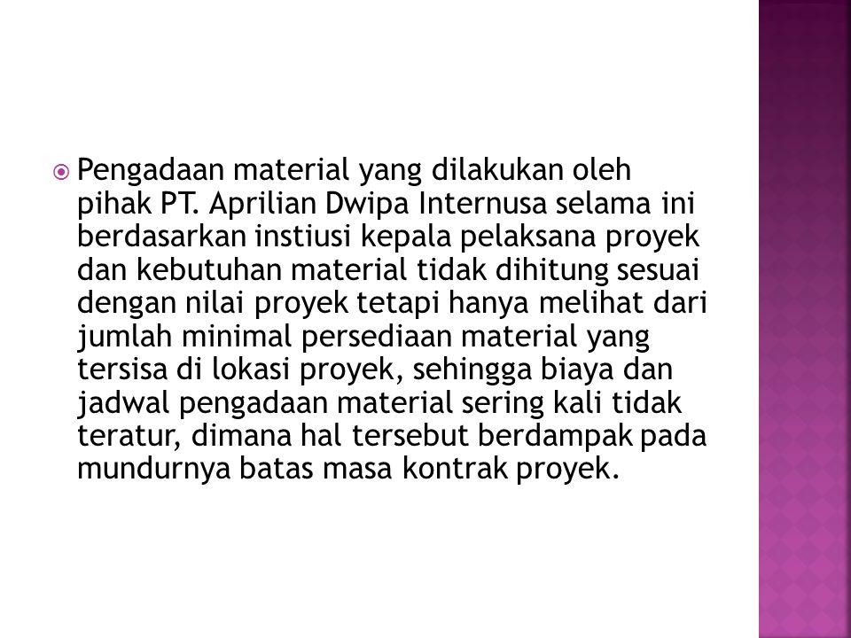 Pengadaan material yang dilakukan oleh pihak PT