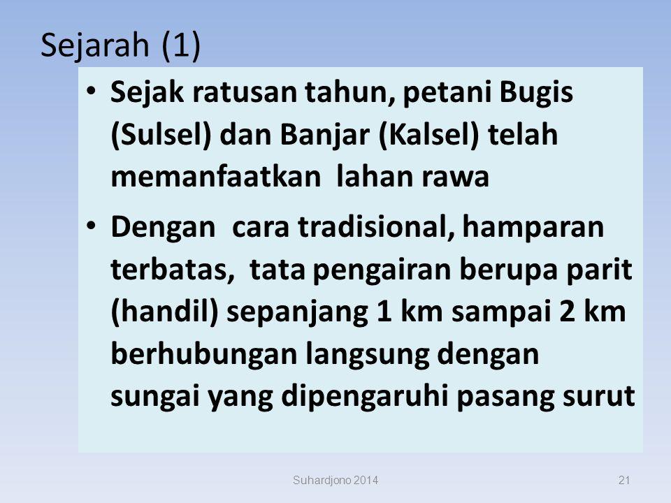 Sejarah (1) Sejak ratusan tahun, petani Bugis (Sulsel) dan Banjar (Kalsel) telah memanfaatkan lahan rawa.