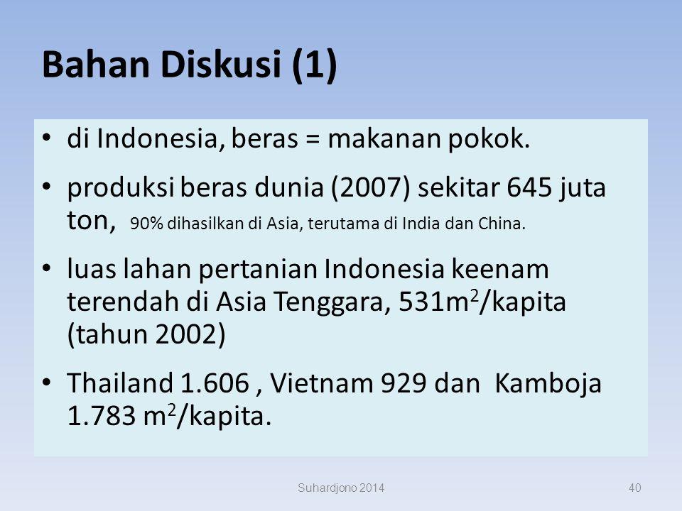 Bahan Diskusi (1) di Indonesia, beras = makanan pokok.