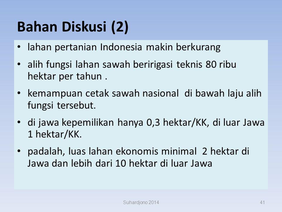 Bahan Diskusi (2) lahan pertanian Indonesia makin berkurang