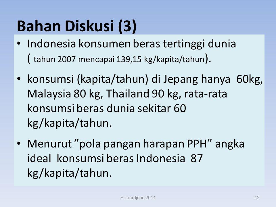 Bahan Diskusi (3) Indonesia konsumen beras tertinggi dunia ( tahun 2007 mencapai 139,15 kg/kapita/tahun).