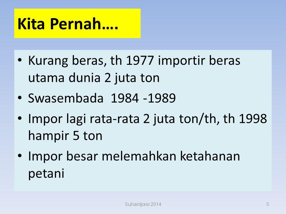Kita Pernah…. Kurang beras, th 1977 importir beras utama dunia 2 juta ton. Swasembada 1984 -1989.