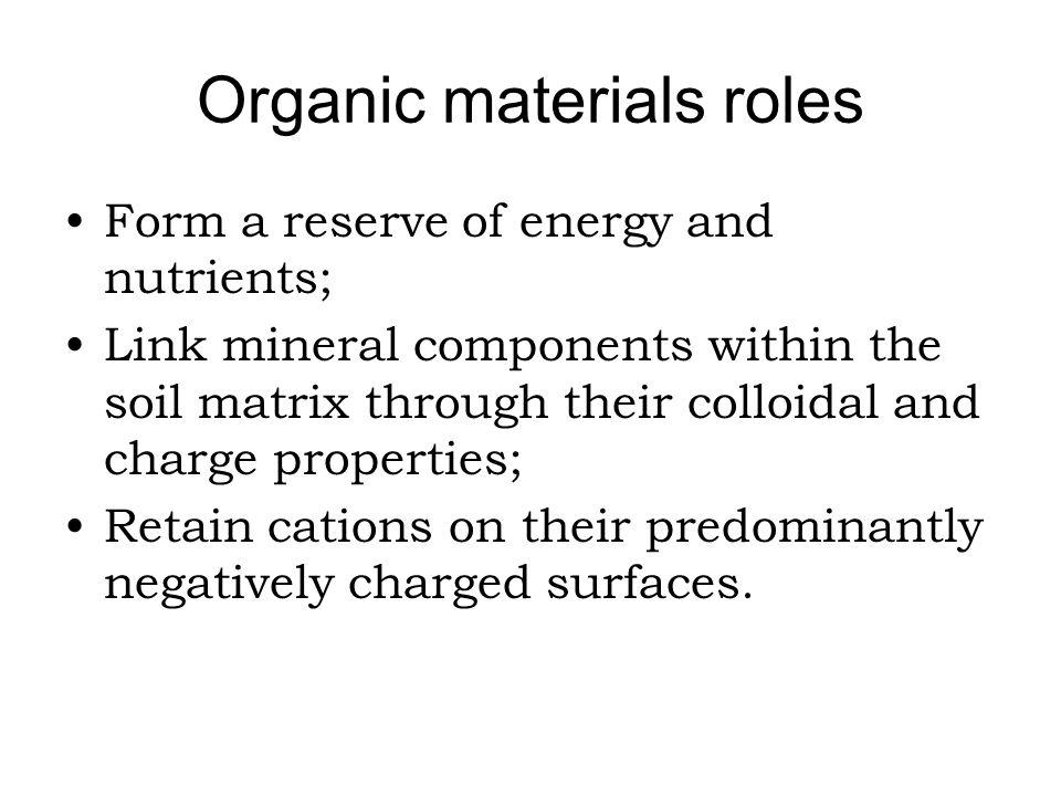 Organic materials roles